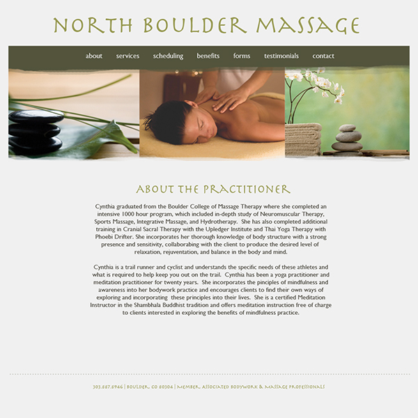 North Boulder Massage website