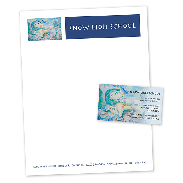 Snow Lion letterhead and business card