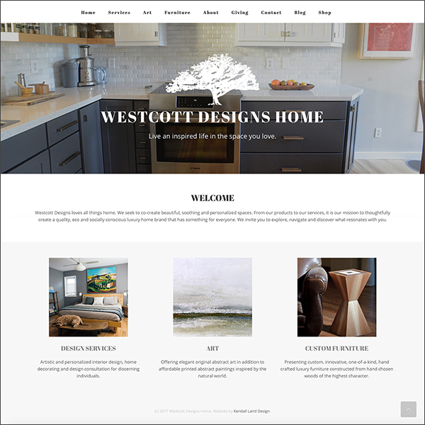 Westcott Designs Home website