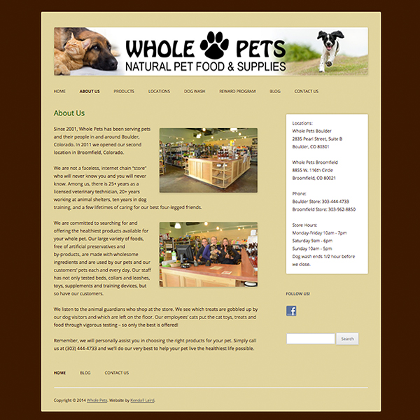 Whole Pets website